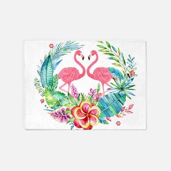 Colorful Tropical Wreath & Flamingo 5'x7'Area Rug