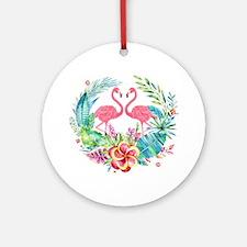 Colorful Tropical Wreath & Flamingo Round Ornament
