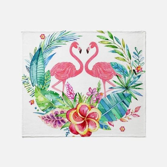 Colorful Tropical Wreath & Flamingos Throw Blanket