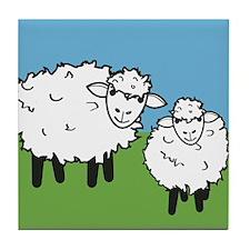 momma sheep baby lamb Tile Coaster