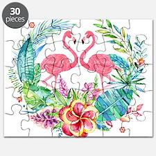 Colorful Tropical Wreath & Flamingos Puzzle