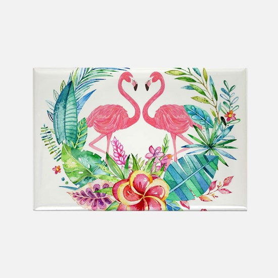 Colorful Tropical Wreath & Flamingos Magnets