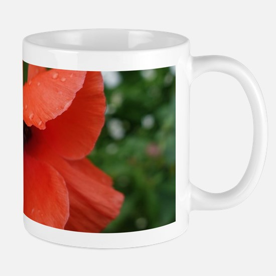 red poppy flower. Mugs