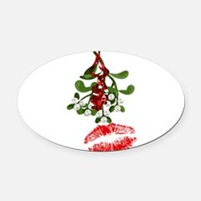 Mistletoe and Red Lipstick Kiss Pr Oval Car Magnet