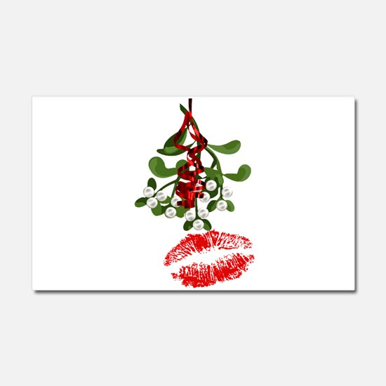 Mistletoe and Red Lipstick Kiss Car Magnet 20 x 12