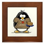 I Love Latkes Penguin Framed Tile