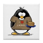 I Love Latkes Penguin Tile Coaster