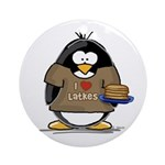 I Love Latkes Penguin Ornament (Round)