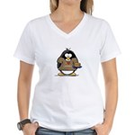 I Love Latkes Penguin Women's V-Neck T-Shirt
