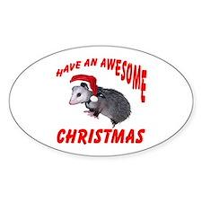 Santa Helper Possum Oval Decal