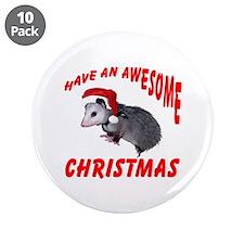 "Santa Helper Possum 3.5"" Button (10 pack)"
