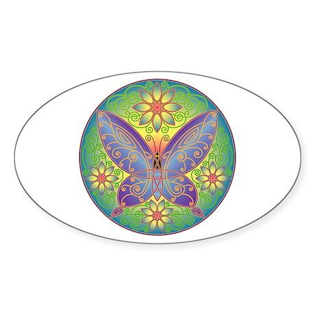 Celtic Butterfly (violet) Oval Sticker