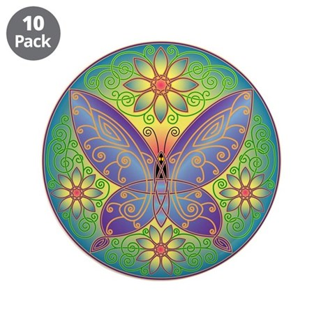 "Celtic Butterfly (violet) 3.5"" Button (10 pack)"