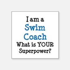 "swim coach Square Sticker 3"" x 3"""