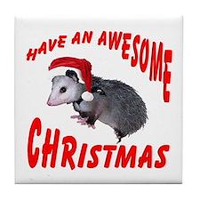 Santa Helper Possum Tile Coaster