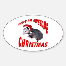 Santa Helper Possum Oval Decal
