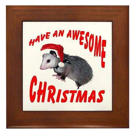 Santa Helper Possum Framed Tile