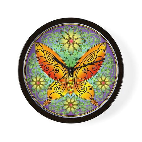 Celtic Butterfly (orange) Wall Clock