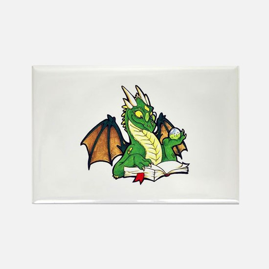 Green Bookdragon Rectangle Magnet