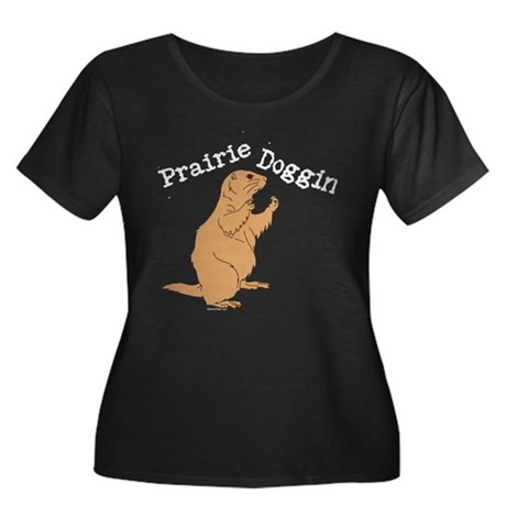 Prairie Doggin Women's Plus Size Scoop Neck Dark T