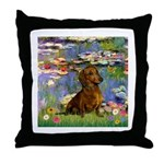 Lilies & Dachshund Throw Pillow