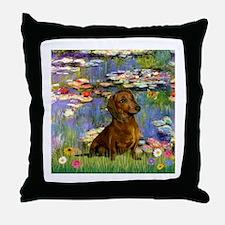 Lilies & Dachshund Throw Pillow