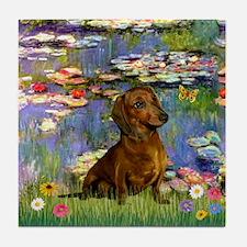 Lilies & Dachshund Tile Coaster