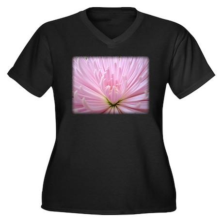 Fuji Mum Flower Women's Plus Size V-Neck Dark T-Sh