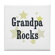 Grandpa Rocks Tile Coaster