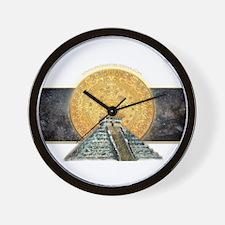 Gold Sun Stone Pyramid Wall Clock