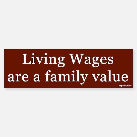 Living Wages Bumper Car Car Sticker
