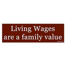 Living Wages Bumper Car Sticker
