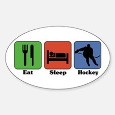 Eat Sleep Hockey Oval Decal