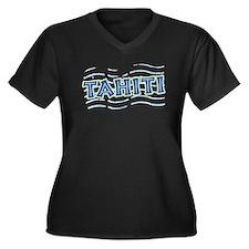 Tahiti Women's Plus Size V-Neck Dark T-Shirt