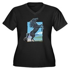 Wild Stallion Women's Plus Size V-Neck Dark T-Shir
