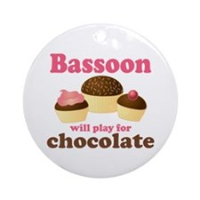 Funny Chocolate Bassoon Ornament (Round)