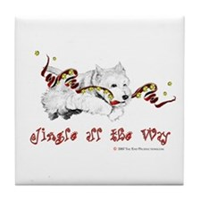 Westhighland Terrier Holiday Tile Coaster