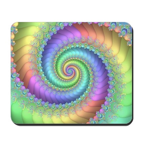 Pastel Vortex Fractal Mousepad