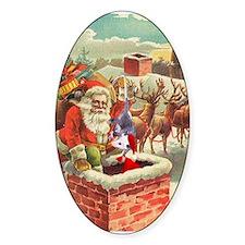 Santa's Helper Possum Oval Decal