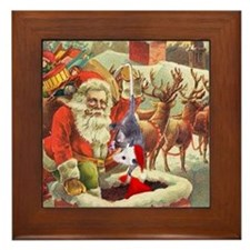 Santa's Helper Possum Framed Tile