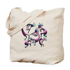 Five Purple Metalic Kokopelli Tote Bag