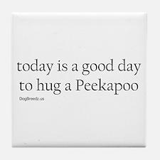 Hug a Peekapoo Tile Coaster