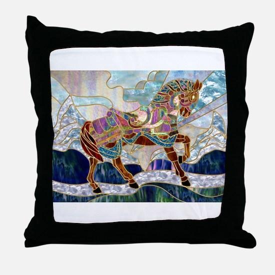 Armoured Carousel Horse Throw Pillow