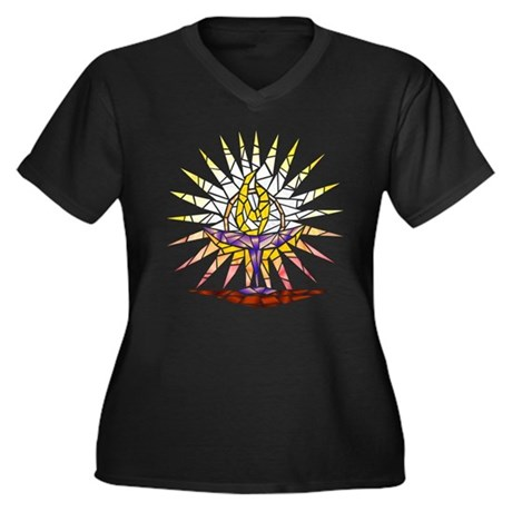 """""""Stained Glass"""" Chalice Womens V-Neck T (Plus)"""