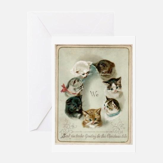 kitties christmas samo80wm Greeting Cards