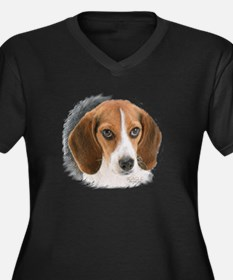 Beagle Close Women's Plus Size V-Neck Dark T-Shirt