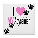I Love My Abyssinian Tile Coaster