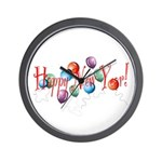 New Year Balloons Wall Clock