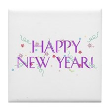 New Year Confetti Tile Coaster