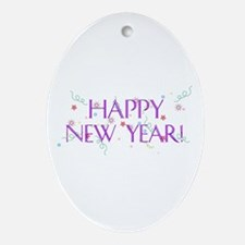 New Year Confetti Oval Ornament